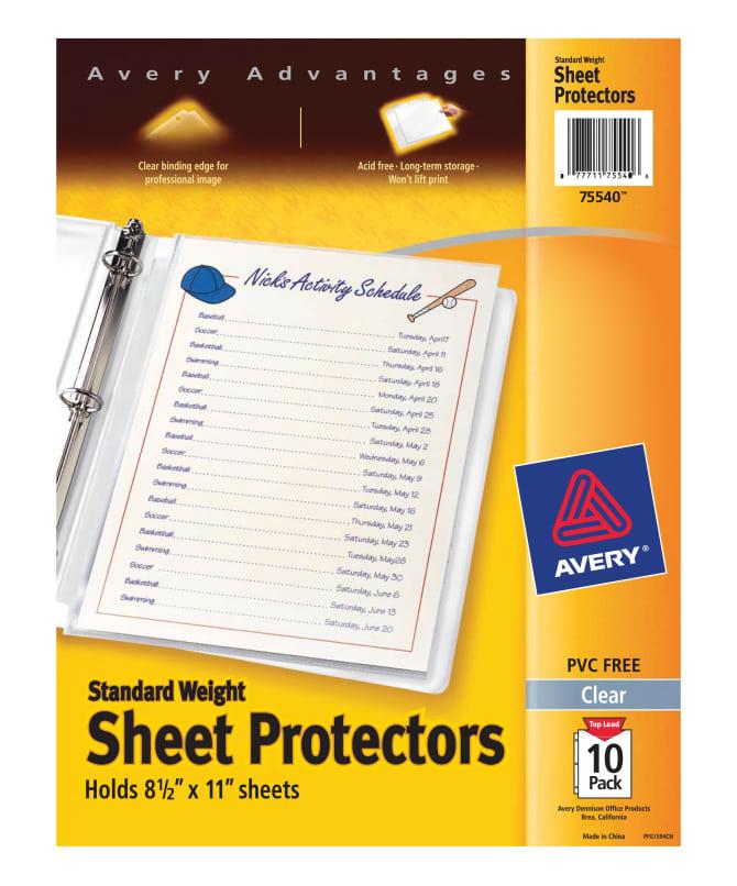 Sheet protectors avery standard weight sheet protectors colourmoves