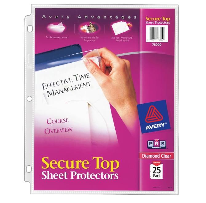 Sheet protectors avery diamond clear secure top sheet protectors colourmoves