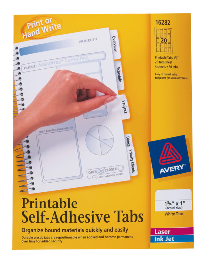 photo about Printable Tabs called Avery® Printable Tabs, Plastic, Self-Adhesive, Repositionable, 1-3/4\