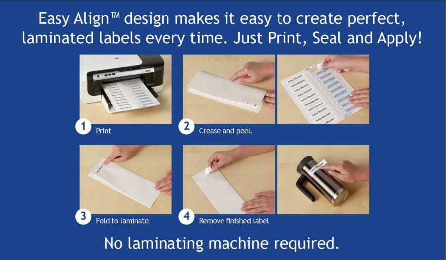 Instructions: Step 1. Print, Step 2. Crease and Peel, Step 3. Fold Laminate, Step 4. Remove finished label
