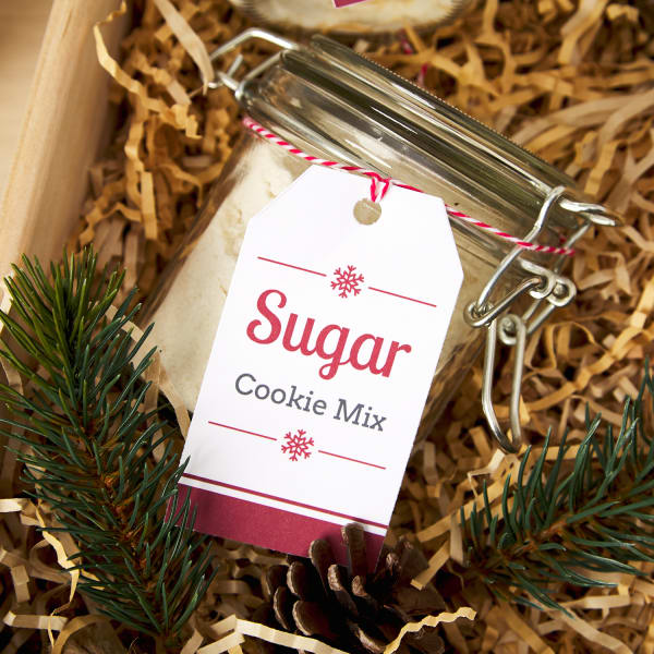 sugar cookie mix jar tied with festive Avery tag