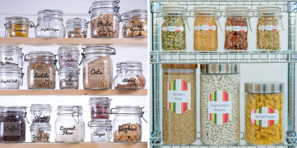 wire shelves for pantry organization filled with dried goods in jars labeled with colorful avery kitchen pantry labels