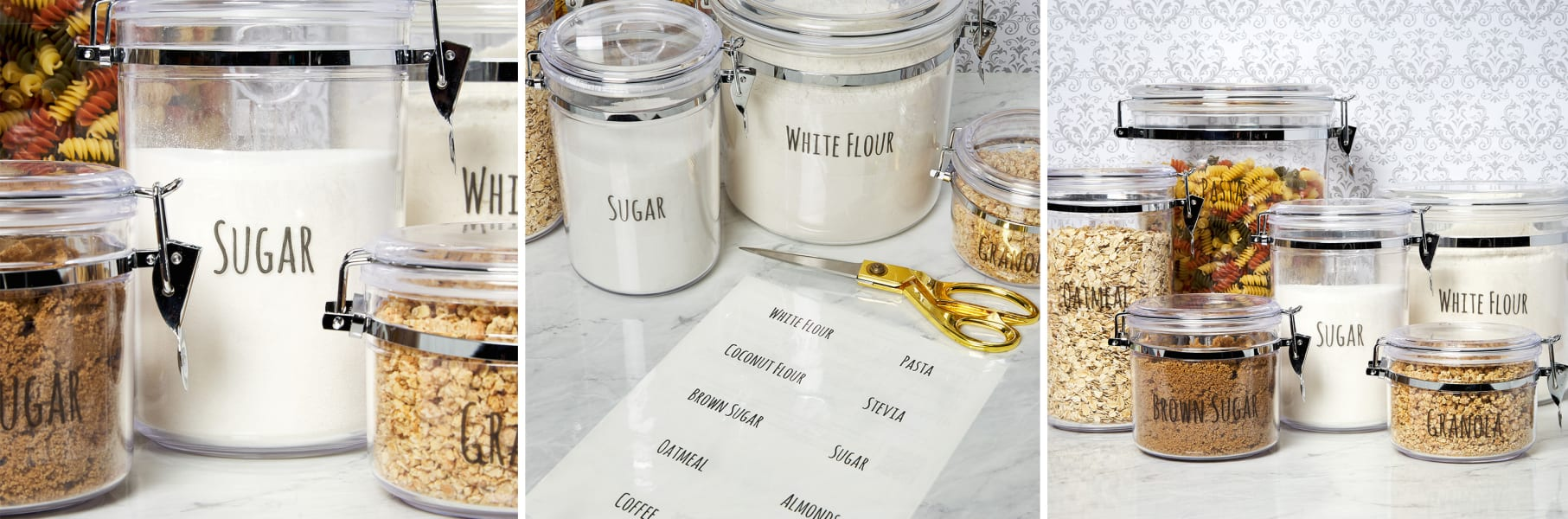 clean white marble kitchen with yellow lemons and spices with cute pantry labels organized on display shelf for extra pantry space
