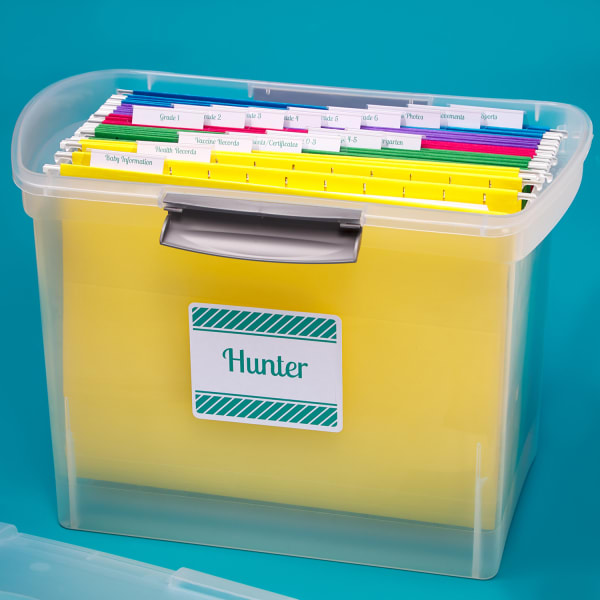 plastic filing bin with handles holding various colors of file folders with labels
