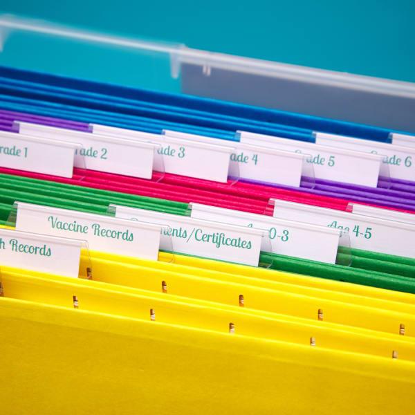 up close shot of labels on file folders in plastic bin