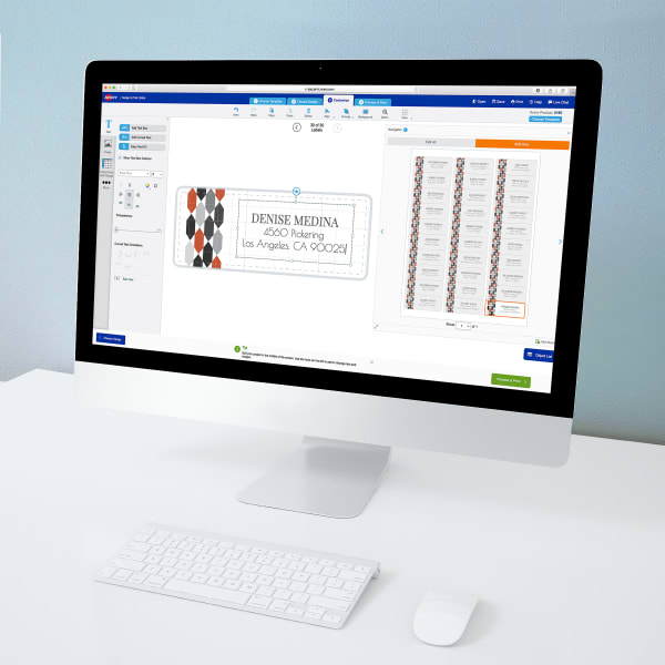 Design and Print Online software on screen with design being created for 5160 label