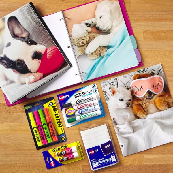 kindergarten school supplies checklist binder divider glue stick highlighter puppies