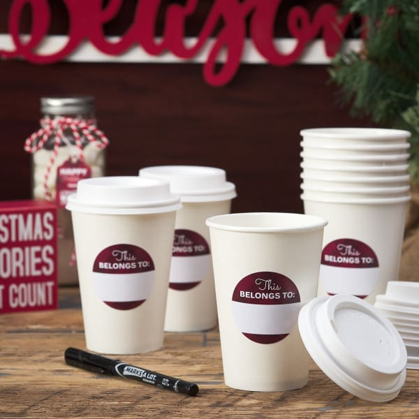 red and white disposable hot chocolate cups with labels for writing on