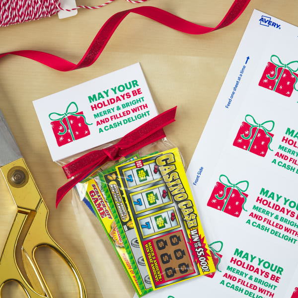 festive bag topper business card size labels on small clear plastic baggie