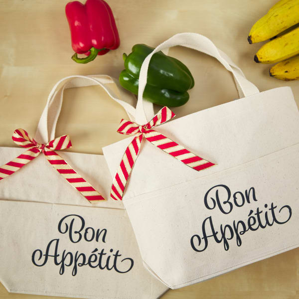 canvas tote bags with bon appétite script message created with Avery fabric transfers