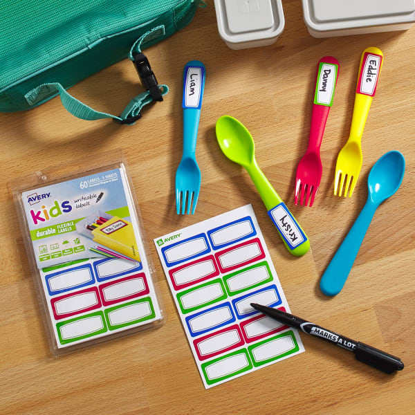 kids writeable labels lunch spooon forks markers