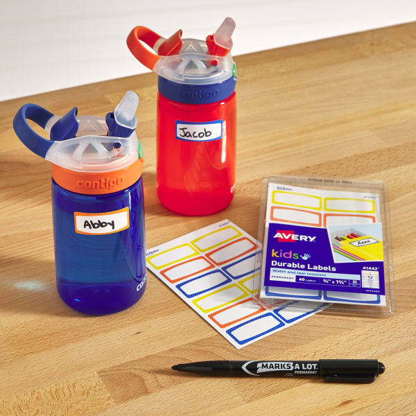 water bottle labs kids durable labels marker