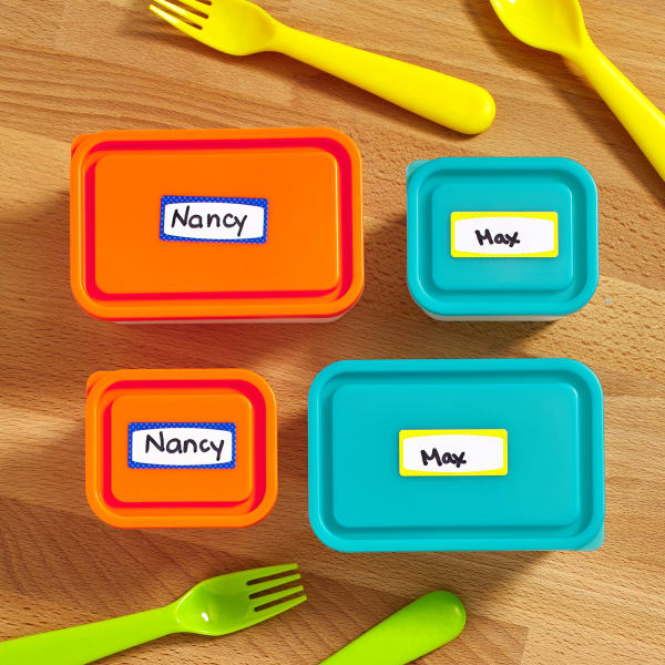 lunch bento box labels orange teal