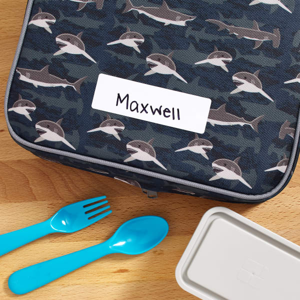 shark lunch bag with label maxwell