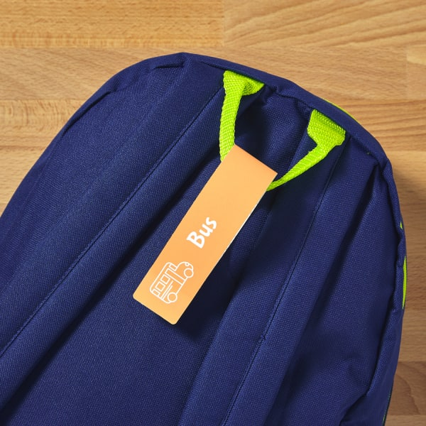 kids backpack blue with tag
