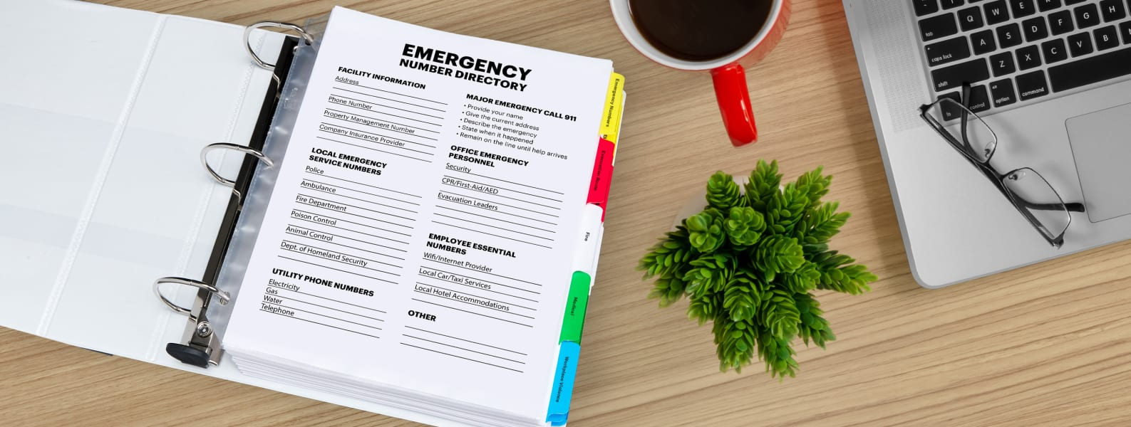 free emergency binder printable for phone numbers using avery templates displayed in a binder on a modern clean wooden desk with