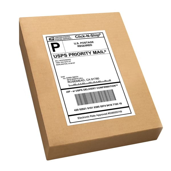 USPS Priority Mail Shipping Label on Cardboard Box