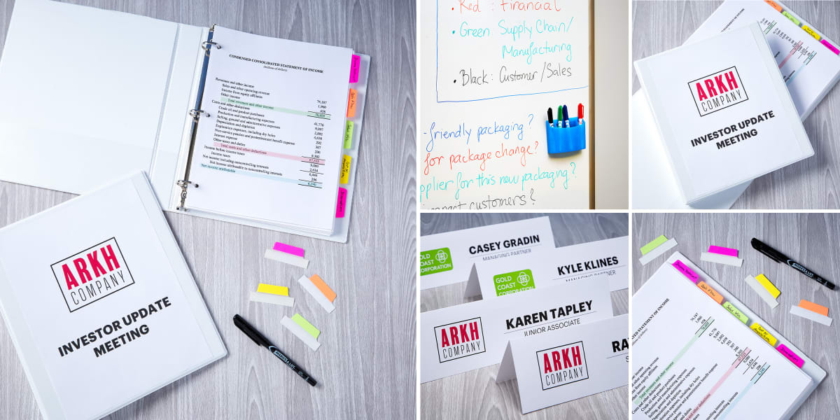 collage of images featuring various products to use for an effective meeting, including binders, tabs, dry erase markers, tent cards for names and more.