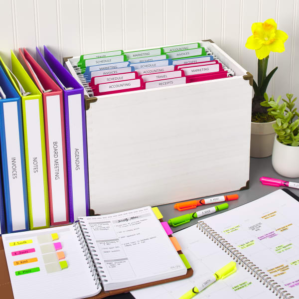 Color coded folders and filing for business or personal