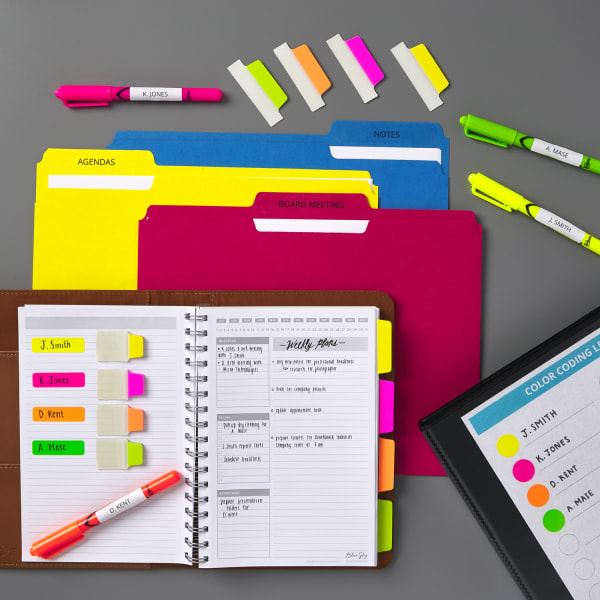 Bright neon colored organization with highlighters ultra tabs and file folders