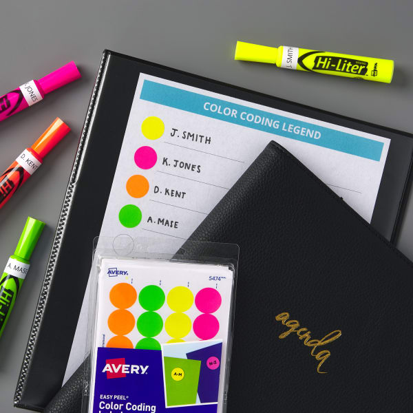 Color coding legend with dots and agenda notebook
