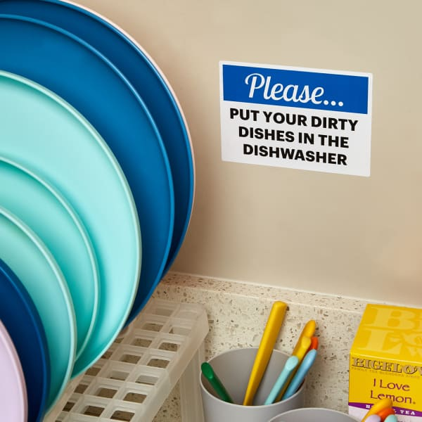 blue and white dirty dishes water resistant office sign for kitchen sink area with dishes and utensils