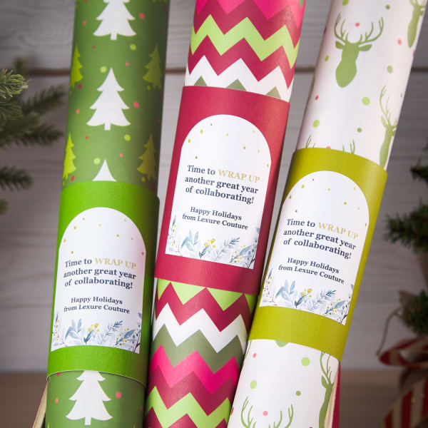 red and green holiday print wrapping paper with custom arched labels for unique customer appreciation gift ideas
