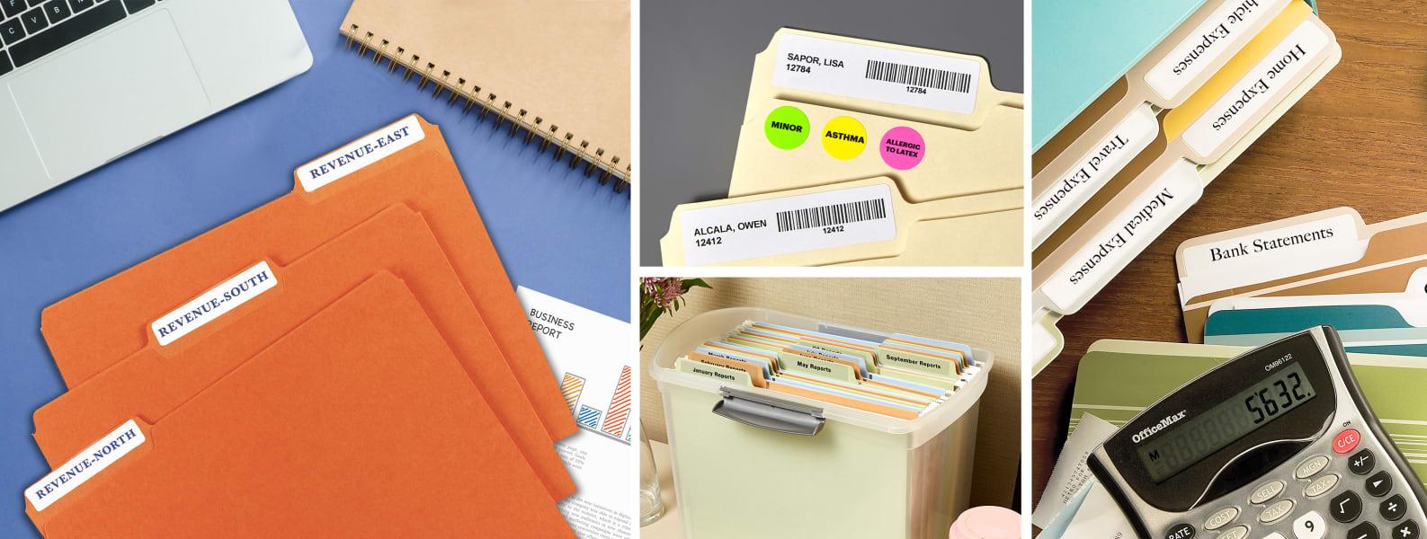 file folder labels orange calculator