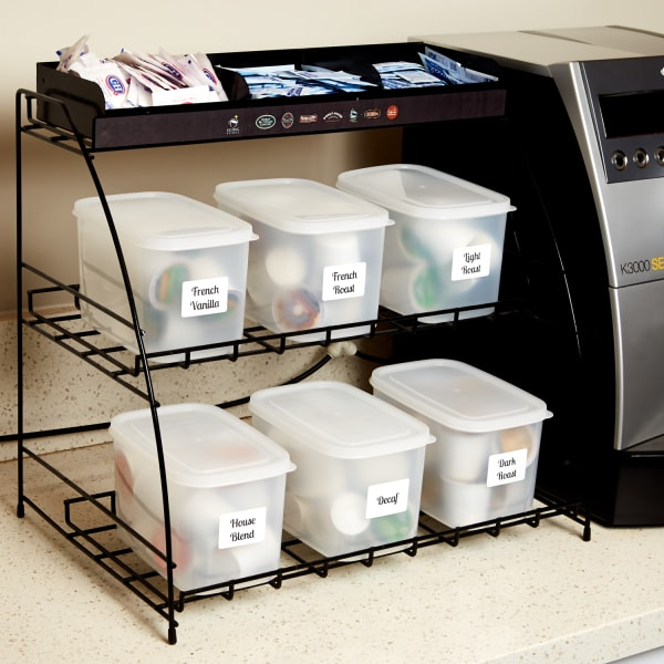 coffee pods in containers neatly organized with Avery labels in an office kitchen