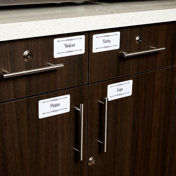 dark wood office kitchen cabinets organized with custom labels