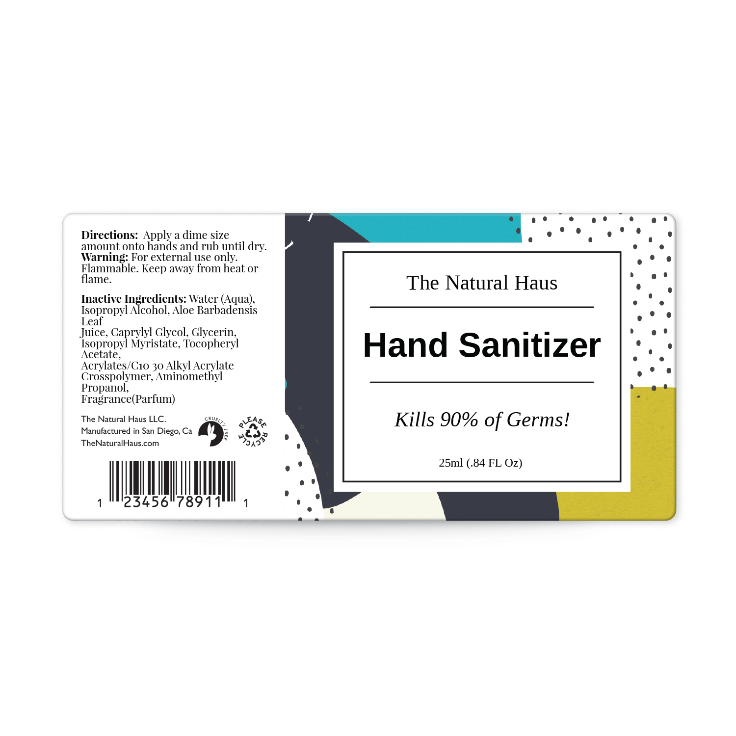 hand sanitizer label templates