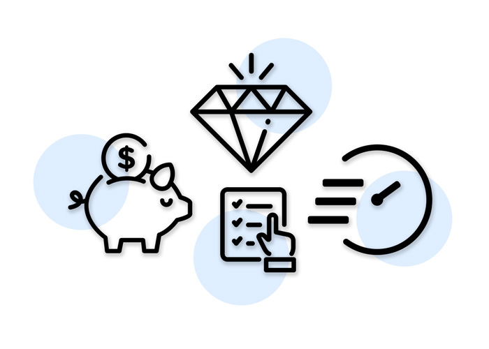 Icons that represent No minimums, No setup fees & Free shipping